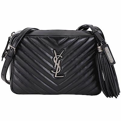 YSL Saint Laurent LOU 銀字絎縫牛皮流蘇相機包(黑色)