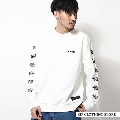大學T滑板印花長袖運動T恤(3色) ZIP日本男裝