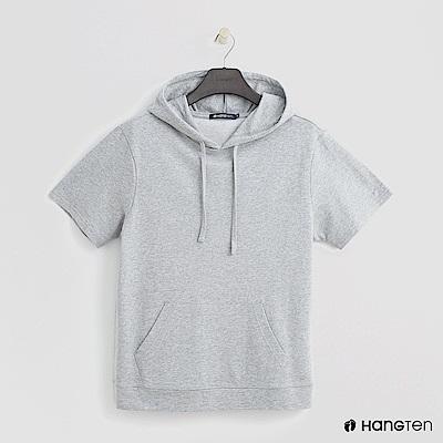 Hang Ten - 男裝 - 純色抽繩連帽短T - 灰