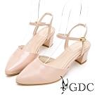 GDC-典雅瑪莉漆皮舒適繞帶尖頭粗跟鞋-粉色