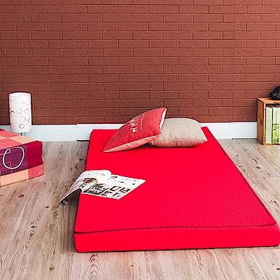 戀戀鄉 (超厚感8CM)日式可折疊透氣可拆洗二折單人棉床墊-四色