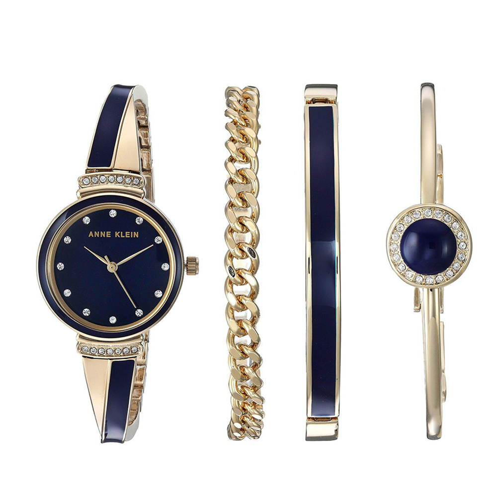 Anne Klein琺瑯洗鍊絕美腕錶手錶手鍊套組-香檳金x30mm AK-2216NVST