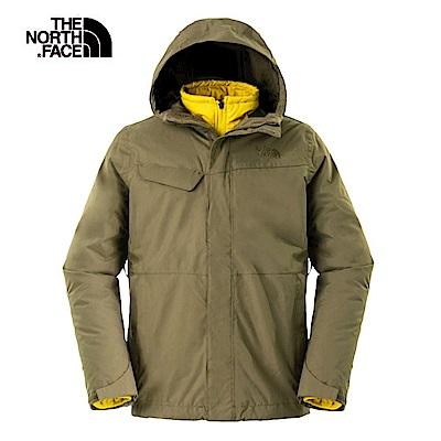 The North Face北面男款綠色防水透氣三合一夾克|2UC32WU1