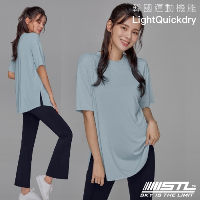 STL YOGA METRO SS 韓國瑜伽 運動機能LightQuickDry輕量快乾 地鐵寬鬆長版短袖上衣 馬爾地夫藍MorningMist