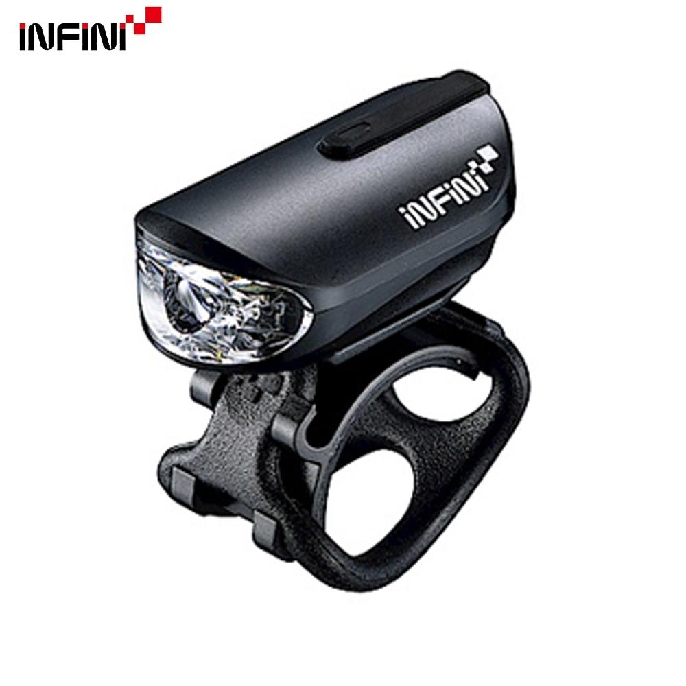 INFINI OLLEY I-210P 3W高亮度超輕量USB充電單車前燈/頭燈-黑