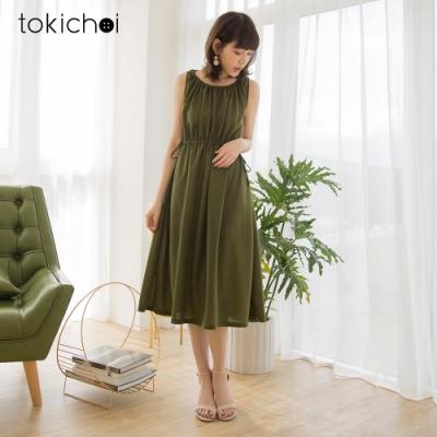 東京著衣-休閒實搭打褶抽繩腰鬆緊背心洋裝
