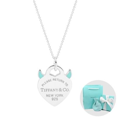Tiffany&Co. Return to Tiffany 經典藍色琺瑯惡魔之心純銀項鍊