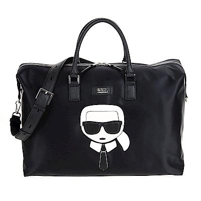 Karl Lagerfeld 皮革拼接尼龍旅行包/手提包 黑色