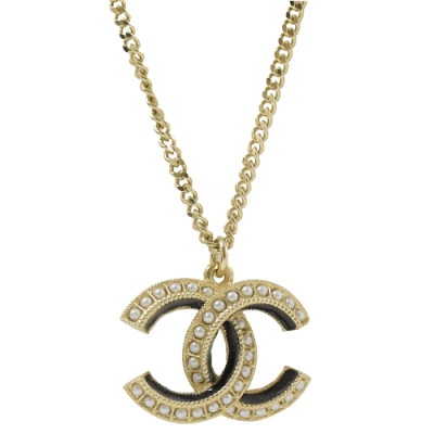 CHANEL 經典C LOGO鑲珍珠裝飾項鍊(金/黑)