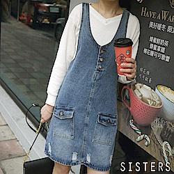 刷色破損風格牛仔連身背心裙(XL-3L) SISTERS