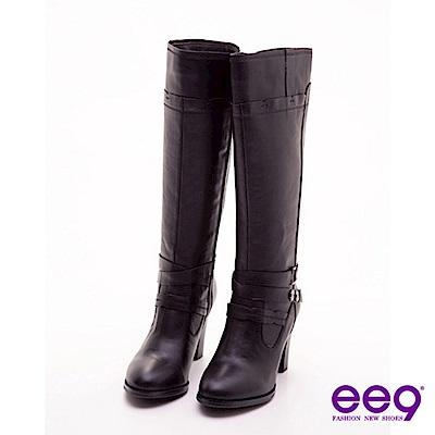 ee9 經典限定~腳踝交叉皮帶釦粗跟長靴~時尚黑