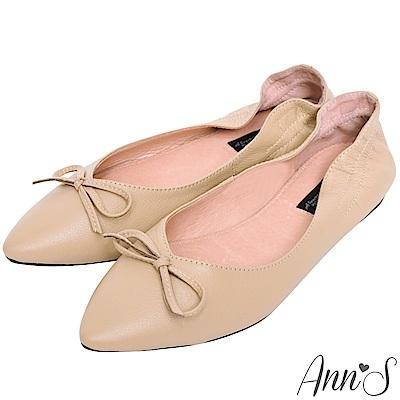 Ann'S氣質V剪裁芭蕾蝴蝶結真皮尖頭平底鞋-杏