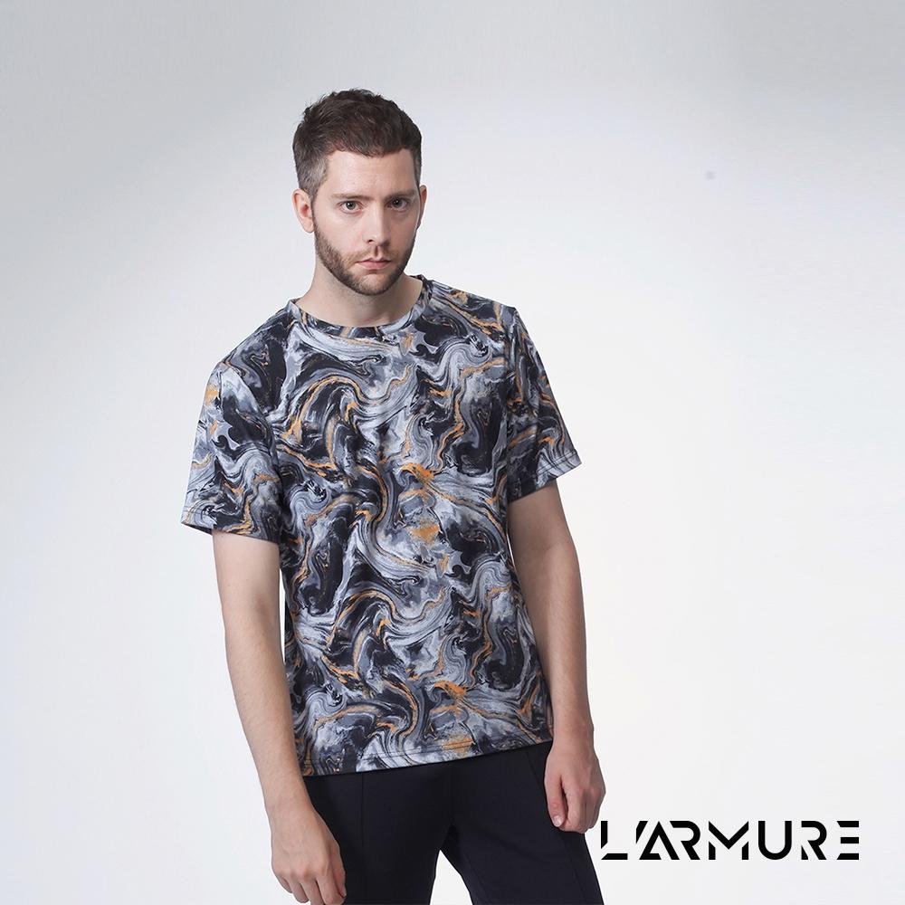 L'ARMURE 男裝 滿版印花T恤 (石紋)