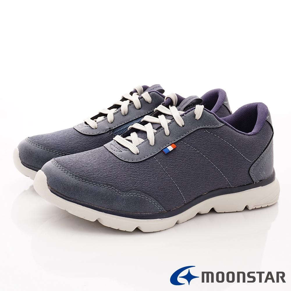 日本Moonstar戶外健走鞋-3E靜態防水抗菌款 1675深藍(女段)