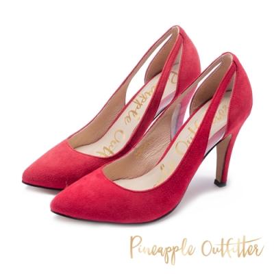 Pineapple Outfitter-PLLINA派對女神尖頭麂皮高跟鞋-絨紅色