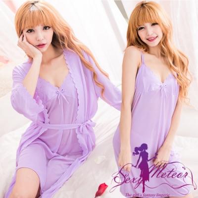 睡衣 全尺碼 冰絲雕花雙肩帶二件式睡衣組(愛戀紫) Sexy Meteor