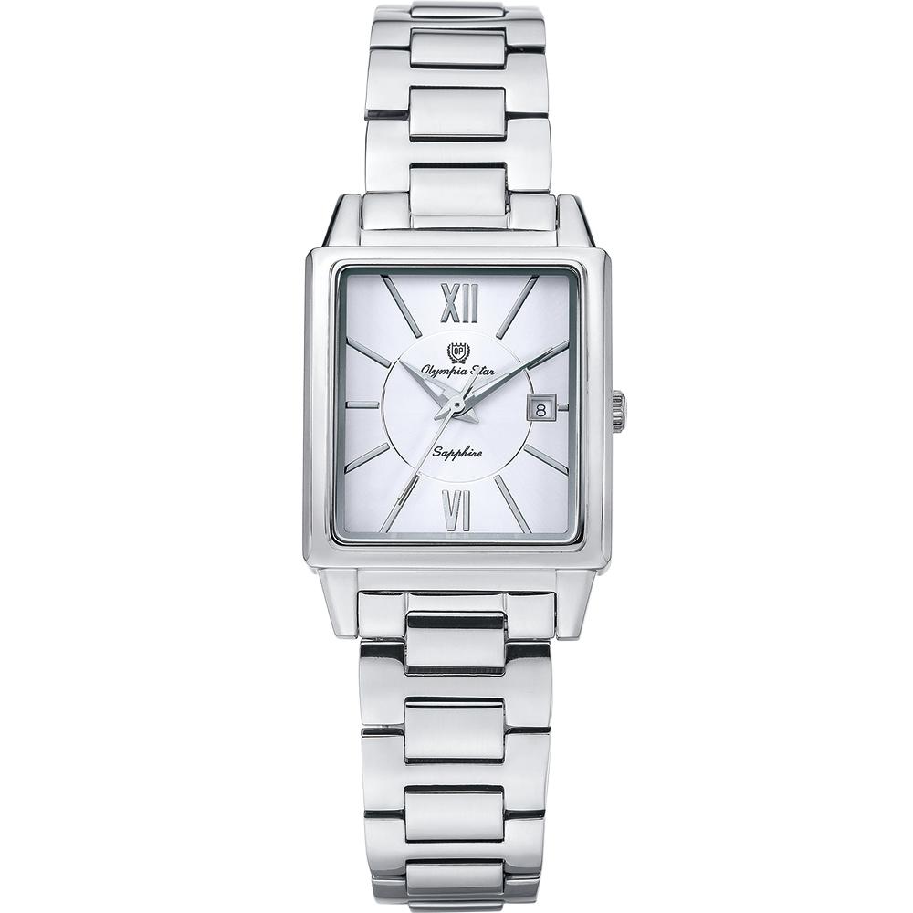 Olympia Star 奧林比亞之星 經典時尚羅馬方型女錶-銀 58065LS