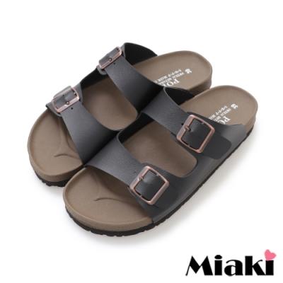 Miaki-拖鞋MIT舒適經典皮質平底涼拖-黑