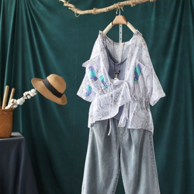 純棉印花襯衫收腰顯瘦中袖寬鬆上衣-設計所在