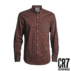 CR7-Slim Fit 咖啡十字正方文襯衫(8644-7200-319)