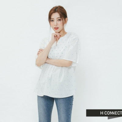 H:CONNECT 韓國品牌 女裝-清新印花造型上衣-白