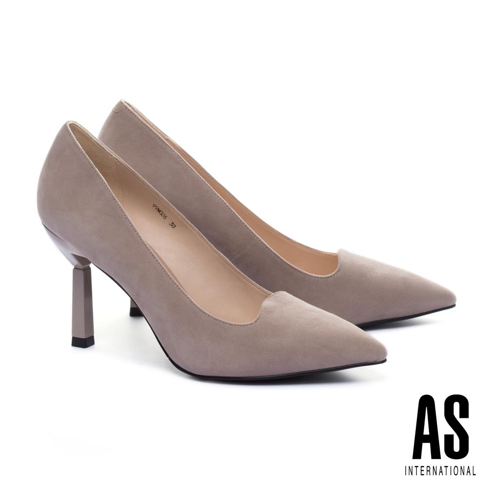 高跟鞋 AS 優雅美型羊麂皮素面尖頭高跟鞋-米