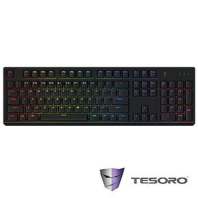 【TESORO鐵修羅】剋龍劍Gram RGB機械式鍵盤-青軸中文|黑