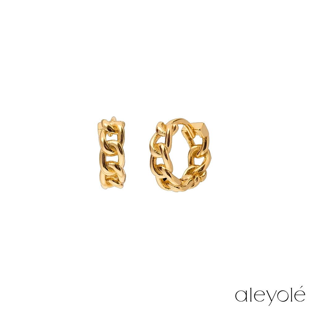 ALEYOLE 迷你鍊圈925純銀鍍18K金耳環 IRON GOLD