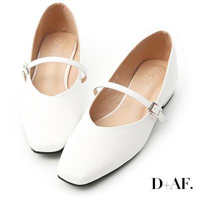 D+AF 好感女孩.素面方頭低跟瑪莉珍鞋*白