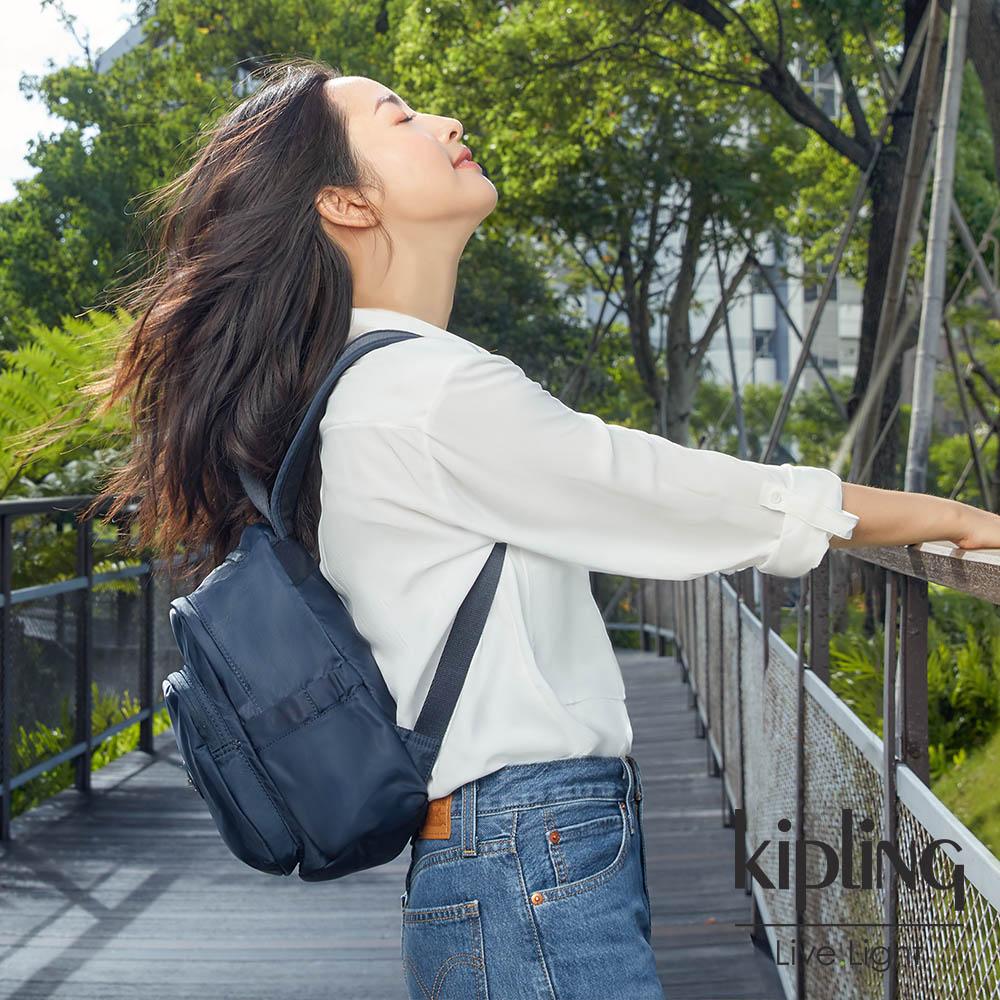 Kipling 林依晨款城市隨行藍拉鍊式小巧收納後背包-DELIA MINI