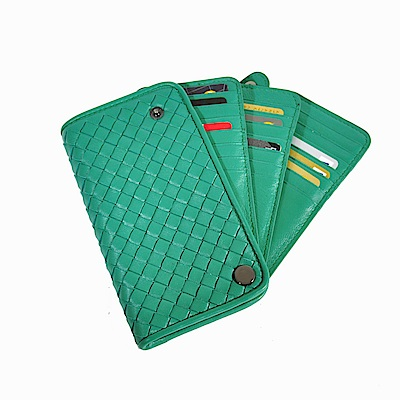 Yasmine 編織綿羊皮專業精英釘釦卡片收納夾(湖水綠色)