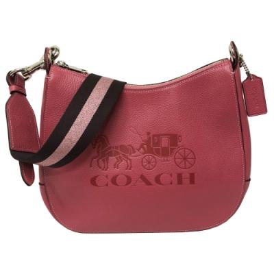 COACH 2019新款大馬車LOGO牛皮寬版背帶肩背馬鞍包(乾燥玫瑰粉)