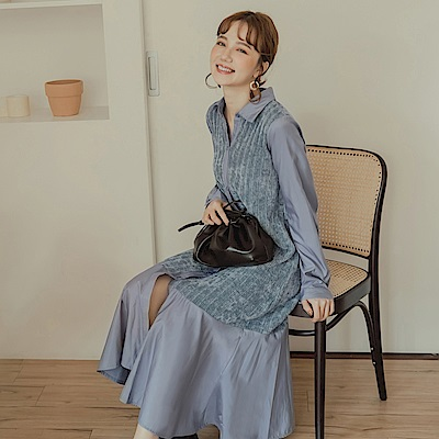 純色柔軟織紋拼接魚尾裙襬襯衫領排釦中長洋裝-OB嚴選