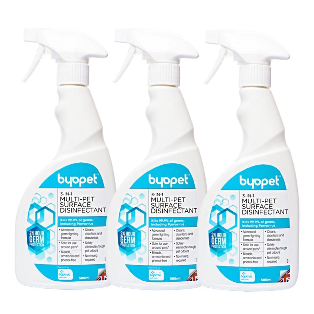 促銷下殺 英國Byopet 寵物抗菌 3合1除臭清潔噴劑500ml-8008(3入)