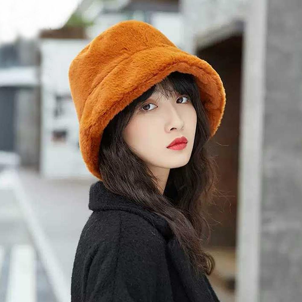 幸福揚邑 韓版時尚保暖毛絨漁夫帽盆帽平頂帽-焦糖