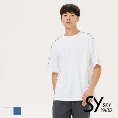 【SKY YARD 天空花園】休閒寬版跳色壓線圓領T恤-白色