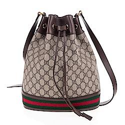 GUCCI 經典Ophidia系列GG Supreme帆布印花綠紅綠織帶皮革飾邊束口水桶包