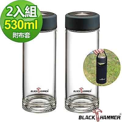 (2入組)BLACK HAMMER雅柏耐熱玻璃水瓶530ml-紳士藍