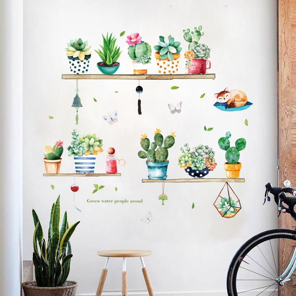 半島良品 DIY北歐風綠植樹葉無痕壁貼-HM71007小清新綠植盆栽50x70
