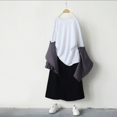 純棉印花長袖T恤寬鬆圓領中長版內搭上衣-設計所在