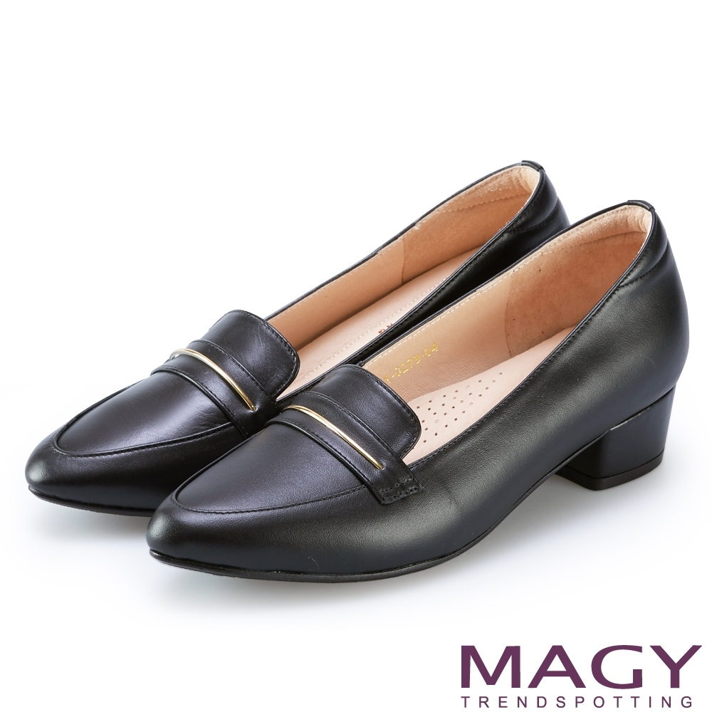 MAGY 金屬飾條真皮樂福 女 粗低跟鞋 黑色