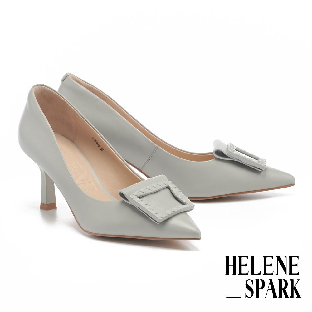 高跟鞋 HELENE SPARK 編織紋烤漆方釦羊皮尖頭高跟鞋-灰