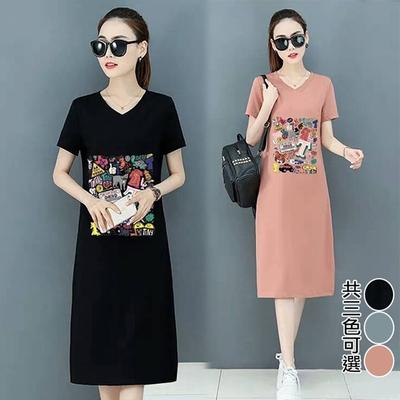 【韓國K.W.】(預購) 休閒洋裝個性中長款洋裝(共3色)
