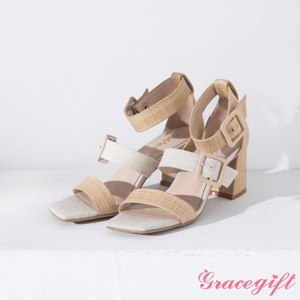 Grace gift X Wei-聯名雙寬帶方釦繞踝粗跟涼鞋 杏