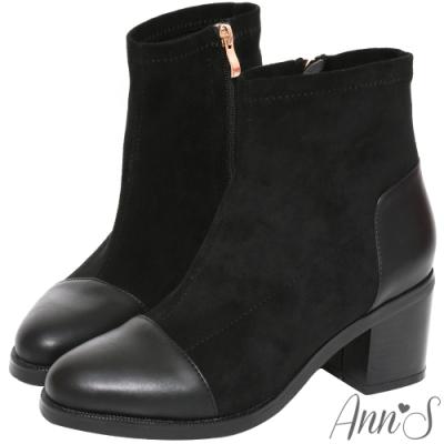Ann'S異材質皮革拼接防水絨布粗跟短靴-黑(版型偏大)