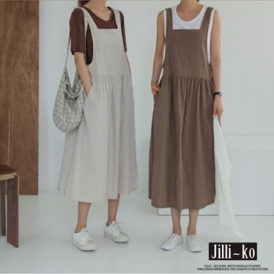 JILLI-KO 日系棉麻感吊帶長裙- 杏/咖啡
