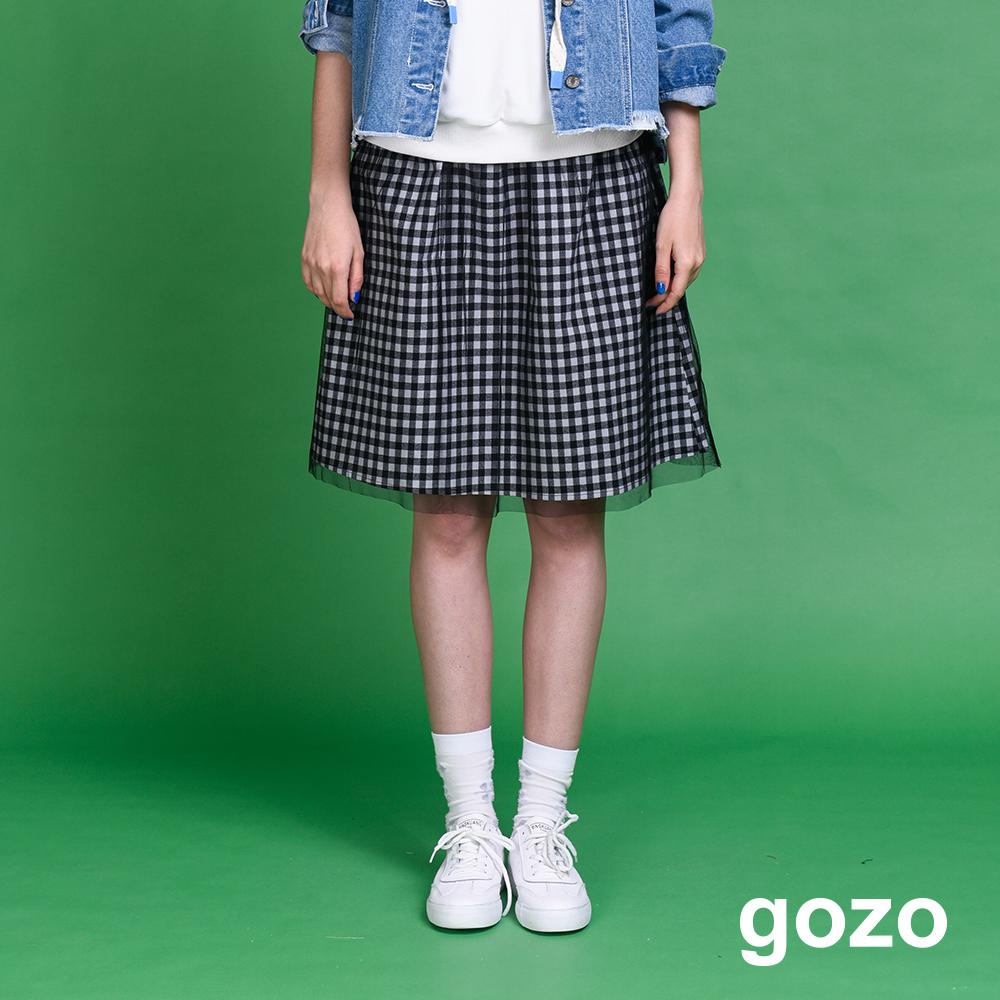 gozo 黑白小方格層次網紗中長裙(二色)
