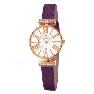Folli Follie晶緻閃耀浪漫皮革腕錶-紫(WF15B028SSW-PU)