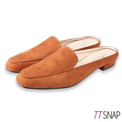TTSNAP穆勒鞋-簡約線條半拖拉長修飾方頭鞋 棕