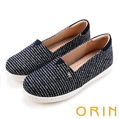 ORIN 潮流同步 表面特殊條紋布休閒便鞋-藍白
